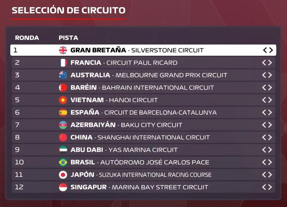 Circuitos de la Lifa F1 2020.